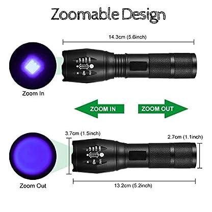 lydnkim UV LED Torch Blacklight 365nm UV Flashlight Black Light Ultraviolet Detector for Dog Cat Urine, Pet Clothing Food Fungus and Bed Bug, Waterproof,3 Modes 4