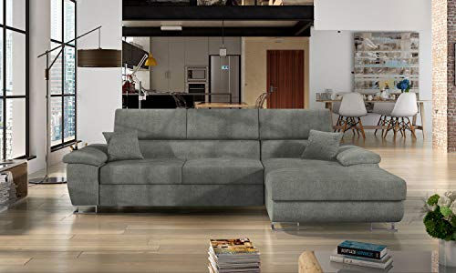 Honeypot - Sofa - Antonio - Sofabed - Black/grey - White/grey - All grey - Faux leather/fabric (All Grey, Right hand corner)