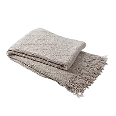 Bourina Throw Blanket Textured Solid Soft Sofa Couch Cover Decorative Knitted Blanket, 50  x 60 , Beige