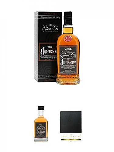 The Glen Els Journey Harzer Single Malt Whisky 0,7 Liter + The Glen Els Journey Harzer Single Malt Whisky 0,05 Liter Miniatur + Schiefer Glasuntersetzer eckig ca. 9,5 cm Durchmesser