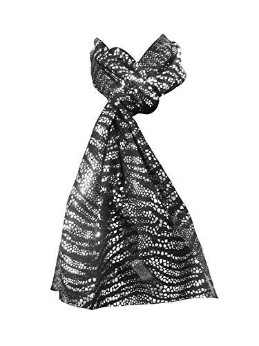 tessago Bufanda de poliéster + impresión de foilt navideño med. 45 x 170 color negro -plata