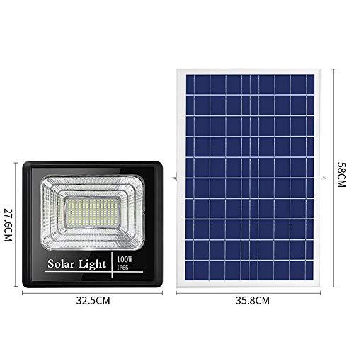 H-XH 100W Solar buitenspot LED met afstandsbediening, IP66 waterdichte zonne-veiligheidsverlichting, buitenverlichting op zonne-energie voor Shed, Schuren