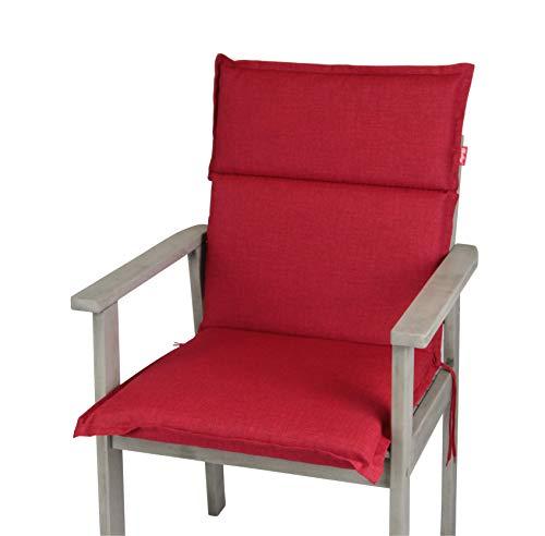 HERLAG Clara Polsterauflage Niedriglehner für Gartenmöbel (Farbe rot, Füllung 100% PU Schaumstoff) P222022-2166