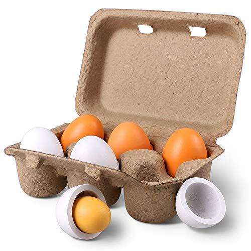 100% nuevo y de alta calidad. Material: Madera, Peso: 0.20kg / set. Tamaño: Caja = 15 x 10 x 5 cm (LxAxH), Huevos Tamaño: aproximadamente 33 x 44 mm. 3 de huevos pueden dividirse en 3 partes con yema de huevo y concha; Reúne interés y educación junto...