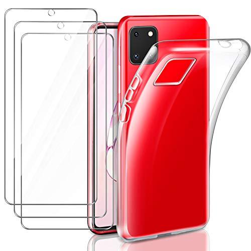 Leathlux Funda Xiaomi Redmi 9C + 3 x Protector de Pantalla Xiaomi Redmi 9C, Transparente TPU Silicona Funda + Cristal Vidrio Templado Protector de Pantalla y Carcasa Xiaomi Redmi 9C