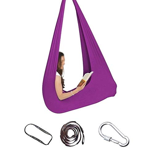 Indoor Sensory Swing Soft Hammock With Special Needs For Children Autism ADHD Aspergers And SPD Has A Calming Effect On 440lbs Load Capacity (Color : Deep purple, Size : 150x280cm/59x110in)