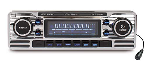 Caliber RMD120BT Retrodesign Autoradio mit Bluetooth Freisprechanlage (SD Kartenslott, USB Anschluss) Chrome Silber