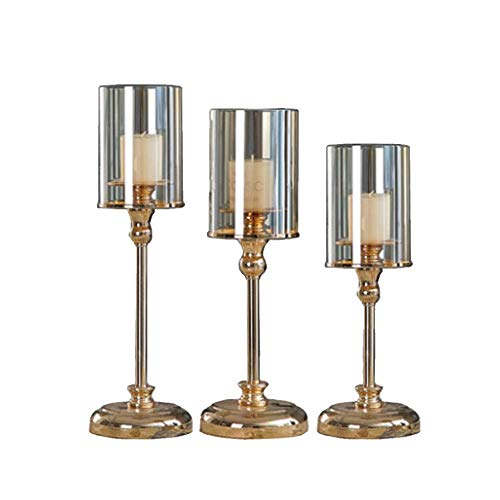 WEHOLY Home s 3 Set in Different Size, Vintage Candelabra Home Decorations for Valentine Christmas Wedding Dinning, Gold for Dining Room Living Room Best Wedding Gift