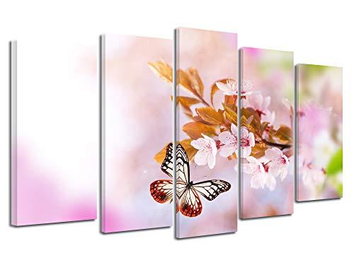 DECLINA groot formaat foto op canvas, kunstdruk op canvas, decoratie woonkamer, modern canvas, decoratie, lentebloemen 150 x 80 cm 150x80 cm Meerkleurig