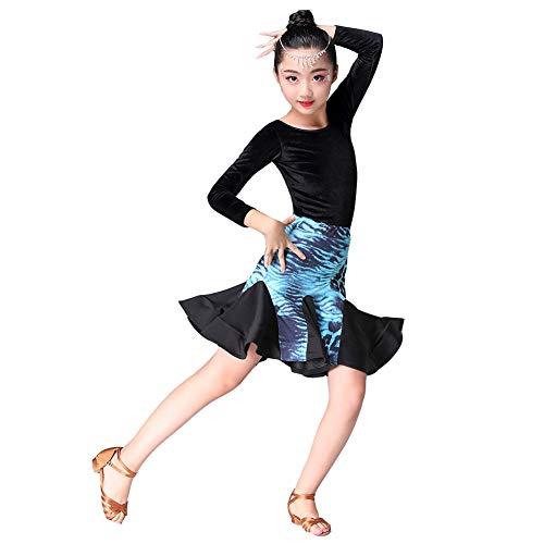 KSITH Kinder Latijnse Dans Praktijk Kleding Herfst En Winter Lange Mouw Split Dans Kleding Fluweel Coltrui Latijnse Dans Rok
