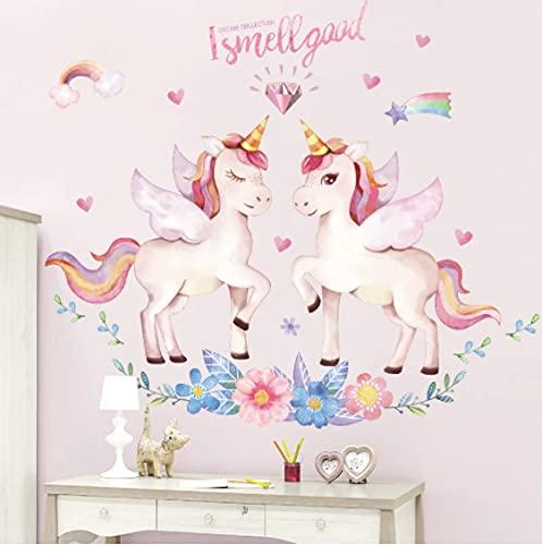 Fantasía Unicornio Pegatinas de pared para habitación de niños Habitación de bebé Guardería Calcomanías de pared de dibujos animados Vinilo ecológico...