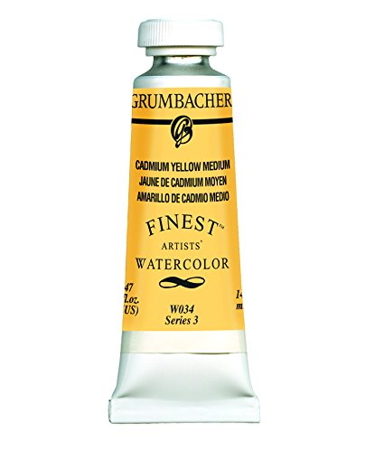 Grumbacher Finest Watercolor Paint, 14 ml/0.47 oz, Cadmium Yellow Medium