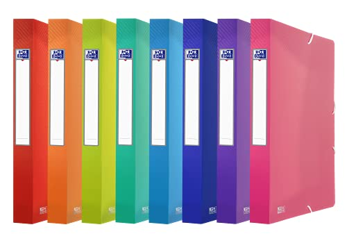 Oxford FolderSys - Caja de plástico (tamaño A4, lomo de 4 cm, 10 unidades), 8 colores