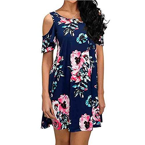EMPERSTAR Moda Damska Zimne Ramię Krótka Mini Sukienka W Kwiaty Bluzka Lato Casual Luźne Sukienki Na Plażę Topy Ciemnoniebieski XL