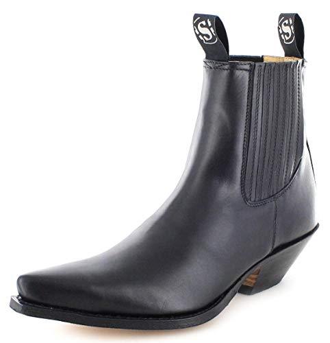 Sendra Boots Unisex Cowboy Stiefel 1692 Negro Lederstiefelette Westernstiefelette Schwarz 47 EU