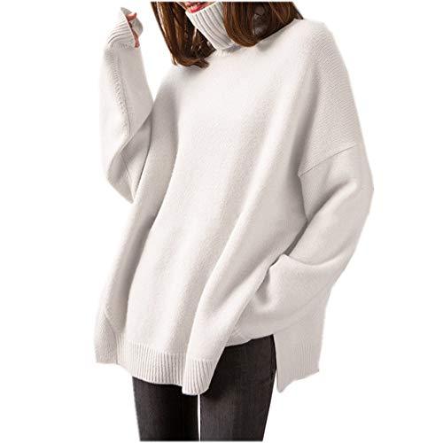 Maglione di Cachemire da Donna - Maglione di Cachemire di Alta Moda con Collo Alto (Bianco, Large)
