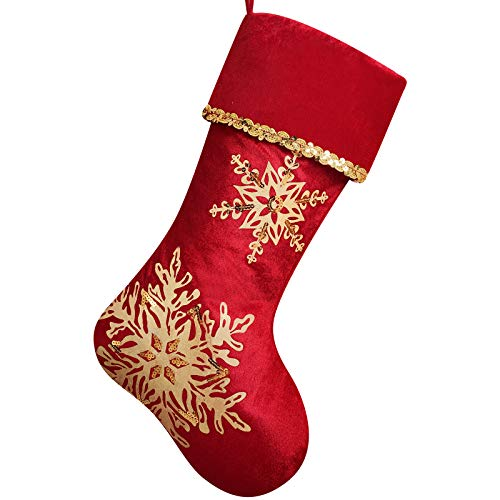 DAVID ROCCO Red Gold Christmas Stocking, 21 inches Fashion and Luxury Christmas Stocking with Glistening Snowflake, for Family Holiday Xmas Party Decoration