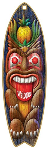 (Tiki Welcome) - (SJT41310) Tiki Welcome 13cm x 41cm Surfboard Wood Plaque Sign