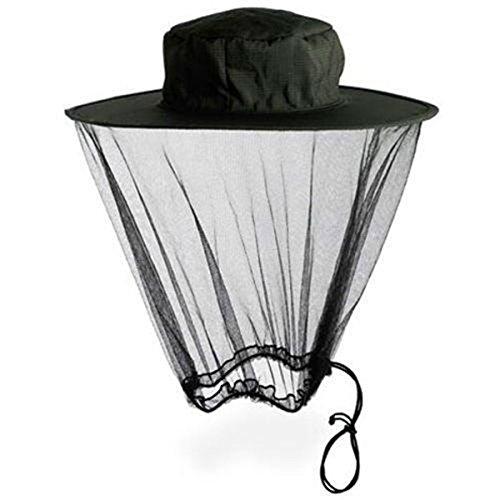 TININNA Filet Anti-Moustique Insectes Protection Tete Unisex Masque Camouflage Chasse Randonnée Masque Pêche Adapté à Tout Chapeau Noir