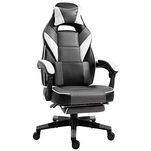 Vinsetto Ergonomischer Bürostuhl, Gaming Stuhl, Drehstuhl, Kunstleder, Grau, Weiß, Schwarz, 68 x 70 x 120-127 cm