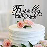 Finally Mr Mrs Love Heart Black Acrylic Cake Topper - Great for...