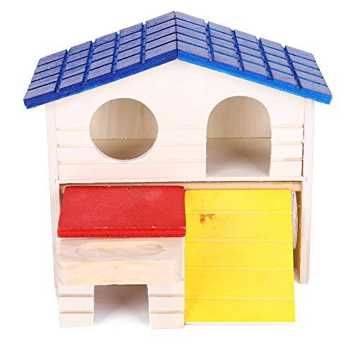 Saws Casa De Madera para Hámster con Techo Azul, Ratón De Dos Pisos Juguete para Mascotas Suministro para Animales Pequeños como El Hámster Y El Ratón 0319