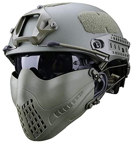 QMZDXH Casco Táctico Rápido con Protección del Oído Máscara De Acero Y Gafas Set para Airsoft Paintball Protector Anti-Riot Casco Ligero B