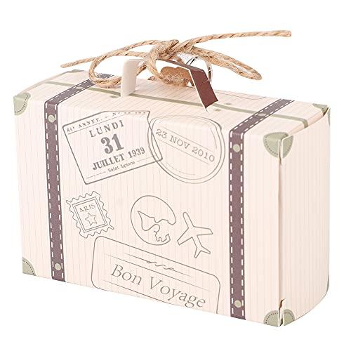 Cajas de Recuerdos de Boda, Caja de Regalo de Dulces Fácil de Plegar Aspecto de Moda Mini Maleta giratoria de 360 ° para Viajes al Aire Libre Recuerdos de Boda(Rose Gold)