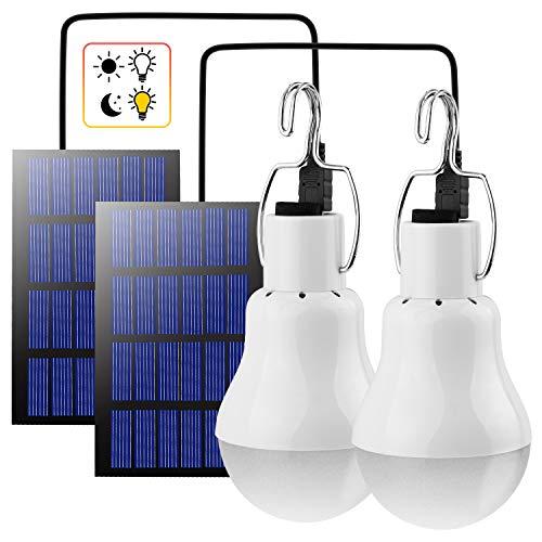 Beinhome LED Solarbetrieben Glühbirne Solarlampe Außen Wiederaufladbar mit Solarpanel und Licht Sensor 3W,LED Camping Solarlampe Leuchten für Garten Innen Außen Camping Hiking Haus Angeln,2 Stück