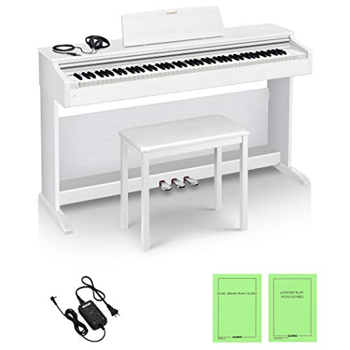 Casio AP-270WE 88keys - Tastiera elettronica bianca pianoforte digitale, 18 W, 1417 mm, 432 mm, 821 mm, 36,6 kg, USB tipo B