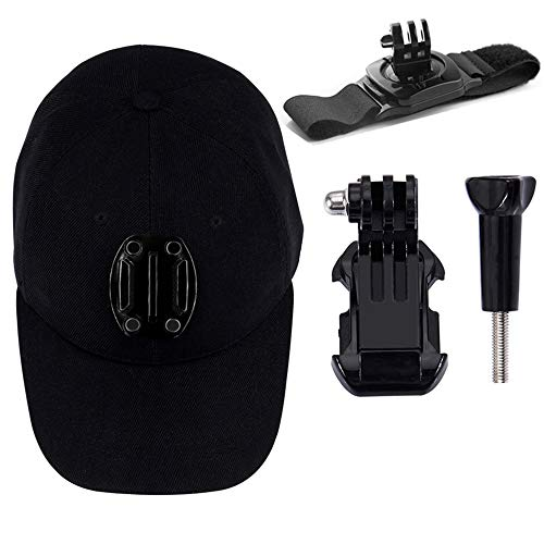Baseball Hat with Quick Release Buckle Mount Compatible with DJI Osmo Action,GoPro MAX/Hero 8/7/6/5/4/3 Plus/3-Baseball Hat Cap Camera Mount with Adjustable Cap Circumference (Black)