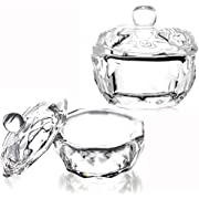 Nail Art Dappen Dish with Lid,2 Pieces Mini Nail Art Acrylic Liquid Powder Dappen Dish Glass Dapping Dish Nail Crystal Bowl Glass Crystal Cup for Acrylic Liquid and Powder
