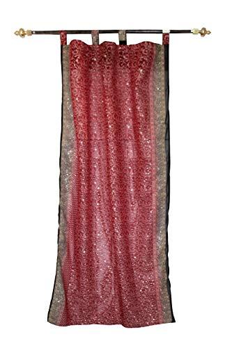 lakkar haveli Indio Cortinas Georgette Tela Ventana, Puerta, Drape Panel Cortina de Precio por marrón Color