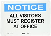 """Master Lock S20201 14"""" Width x 10"""" Height Polypropylene, Blue and Black on White Safety Sign, Header """"Notice"""", Legend """"All Visitors Must Register At Office"""""""