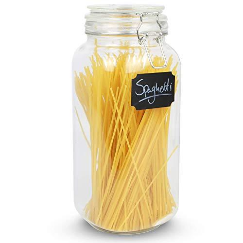 Maison & White Bocal de rangement à spaghetti de 2,2 L | Grand récipient vintage hermétique en verre rond | Bocal de pâtes et de céréales | Contenants de nourriture sèche