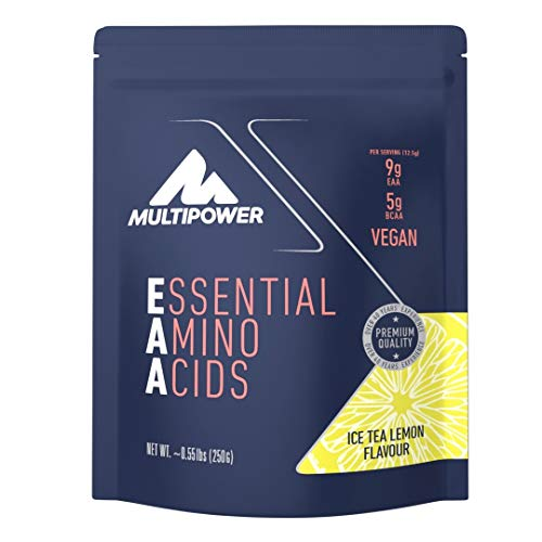 Multipower EAA Aminoacidi Essenziali in Polvere - 9 g di aminoacidi essenziali per porzione - Con vitamina B6 e vitamina C - Per la costruzione muscolare - 250 g - Gusto Tè Freddo al Limone