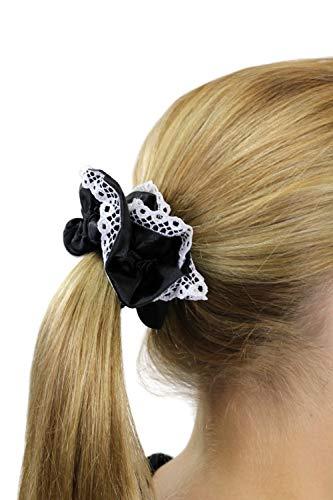 Chouchou élastique, style femme de chambre / femme de ménage / Lolita gothique, couleur noir aux bordures blanches Z020