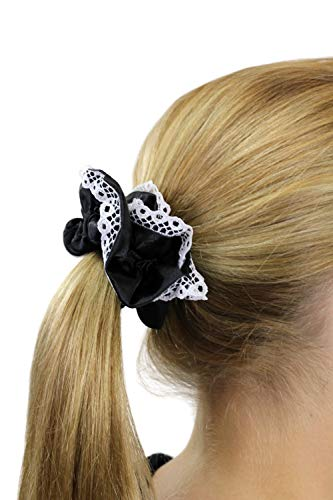 Haarband Scrunchy Maid/Magd/Zofe/Gothic Lolita elastisch Schwarz + weiße Spitze Z020