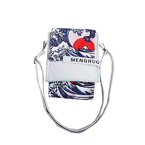 minghui Mapa del Arte Japonés Ola Amanecer Pescado Imprimir PU Bolsa Personalidad Femenina Literaria Hombro Messenger Bag Blanco