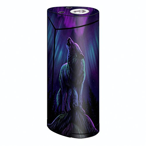 Skin Decal Vinyl Wrap for Smok Priv V8 60w Vape stickers skins cover/ Wolf in glowing purple background