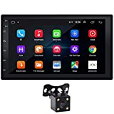 Double Din Car Stereo 7' Touchscreen Android 9.1 Car Radio with Bluetooth FM WiFi GPS Navigation Mirrorlink CarPlay 1G/16G Car Stereo with Backup Camera Video Player + LED Reverse Backup Camera