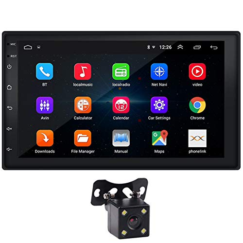 "Double Din Car Stereo 7"" Touchscreen Android 9.1 Car Radio with Bluetooth FM WiFi GPS Navigation Mirrorlink CarPlay 1G/16G Car Stereo with Backup Camera Video Player + LED Reverse Backup Camera In-Dash Navigation"