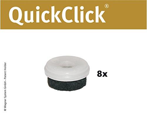 WAGNER QuickClick® Stuhlgleiter I 8er-Set Ersatzgleiter I - NATURAL - Durchmesser Ø 20 mm - 15802300