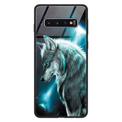 Eouine Samsung Galaxy S10 Plus Case, [Anti-Scratch] Shockproof Patterned Tempered Glass Back Cover Case with Soft Silicone Bumper for Samsung Galaxy S10 Plus Smartphone (Wolf 2)