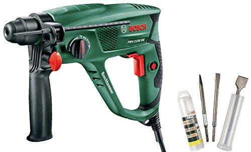 Bosch PBH 2100 RE - Martillo perforador con maletín (tope de profundidad, empuñadura adicional, 550 W) + Bosch 2607019457 - Set con 3 cinceles SDS-plus