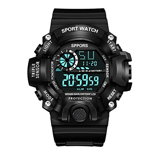 Relógio masculino digital esportivo AxiBa com tela LED para homens, impermeável, casual, luminoso, cronômetro, alarme, relógio