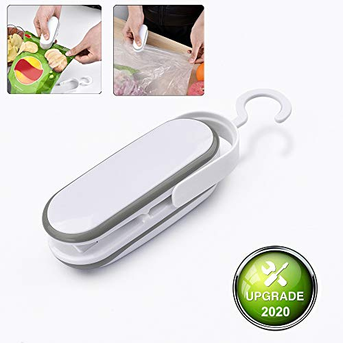 Mini Bag Sealer Heat Seal, Handheld Food Saver Vacuum Heat Sealer and Cutter, Mini Portable Package Sealer Airlock Resealer for Chip Bags, Snack,Cookie,Mylar Bags,Plastic Bag