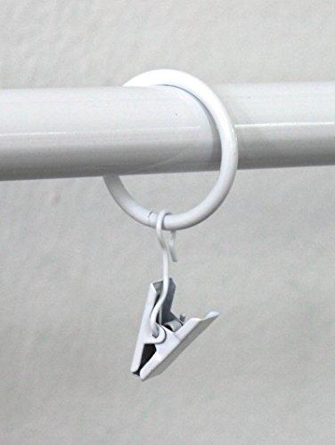 Rollmayer 10 Stück Gardinenringe für Gardinenstange/Vorhangstange 16mm, 19mm, 20mm Durchmesser (Weiss mit Klammer) 10er-Set Ringe mit Clips für Vorhänge, Schiebevorhänge, Gardinen