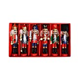 6 piezas de soldado cascanueces cascanueces, decoraciones navideñas, soldado cascanueces de madera, decoración sin pintar, cascanueces rojo y azul para decoración de Navidad (13 cm)
