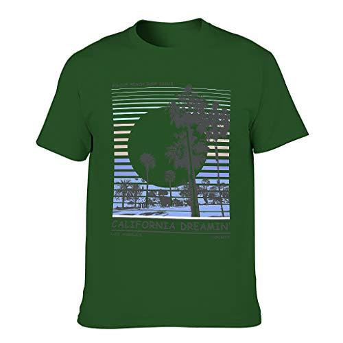 Kalifornischer Traum Herren T-ShirtsKurze HülsenTee Classics Herren T-Shirt StrassenmodeT-Stücke Dark green001 4XL